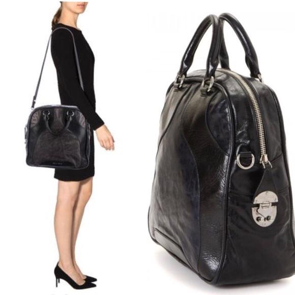 cd3b7473b23 AUTH Miu Miu Bi-Color Leather Bowler Bag. M 5b5822b425457a3b136ffed6
